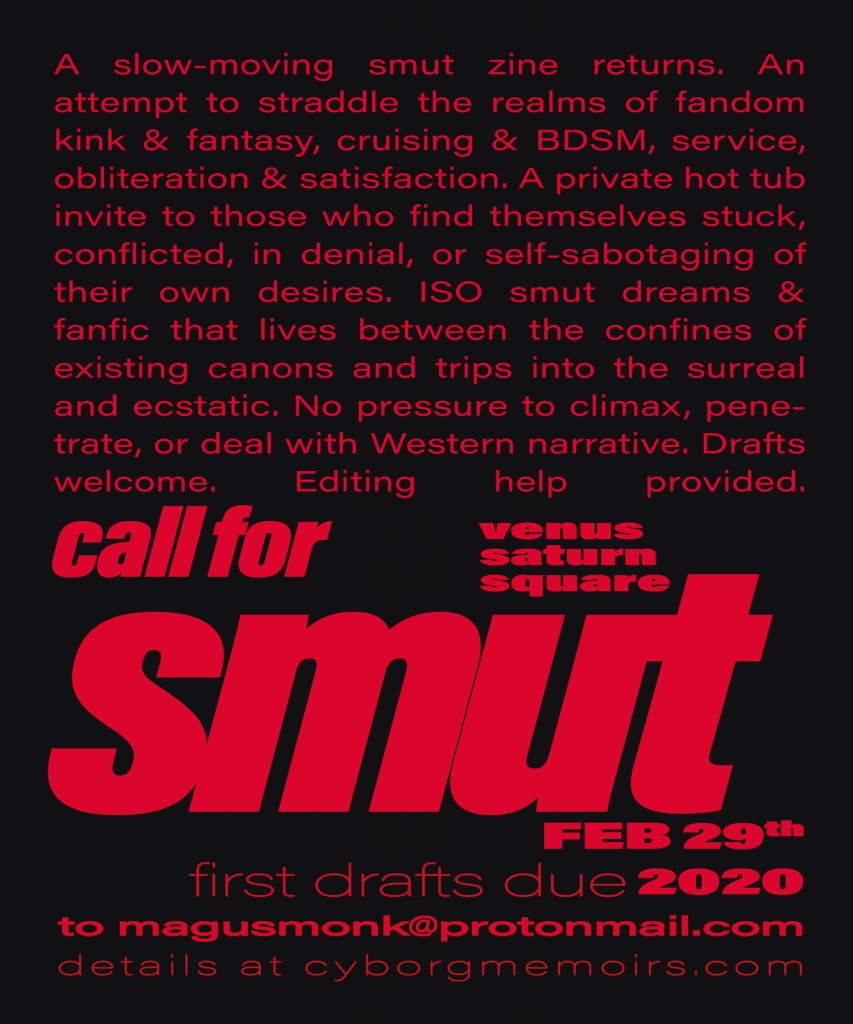 flier for venus saturn square, hot red text on black, text repeated in post