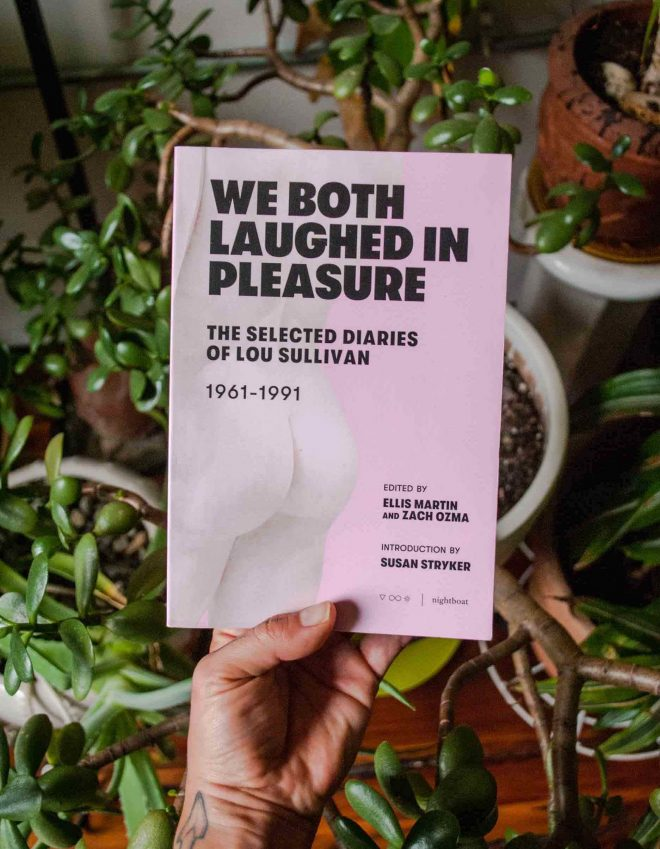 I'm holding the book with its pink cover over a sprawling jade plant in my room