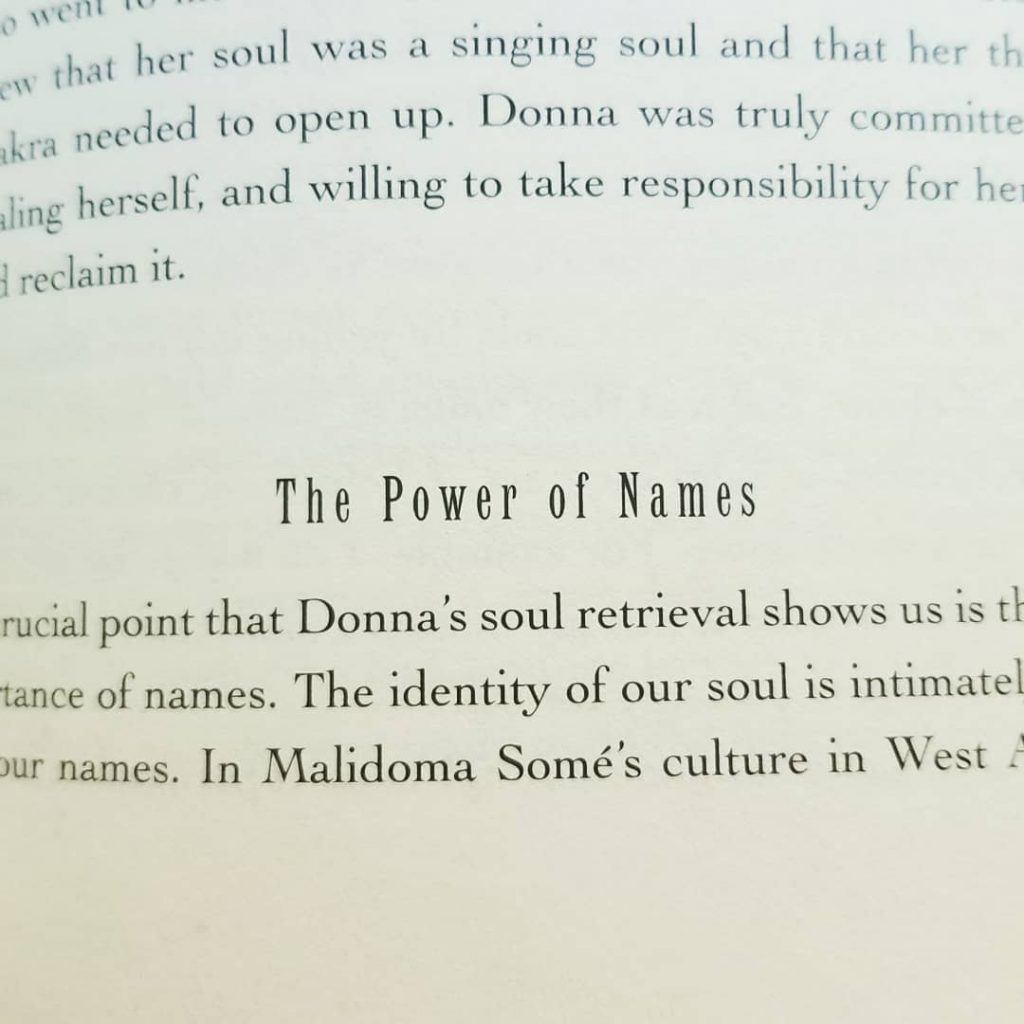 A close up of a section discussing the power of names