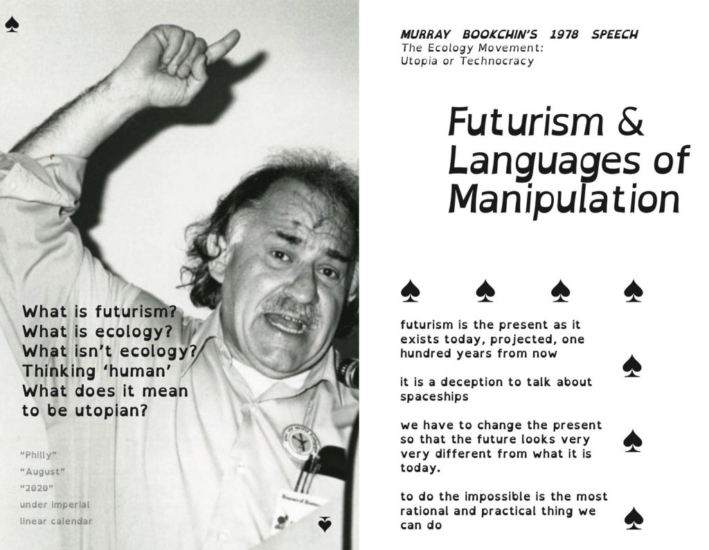 A screencapture of the front and back cover of the Bookchin zine