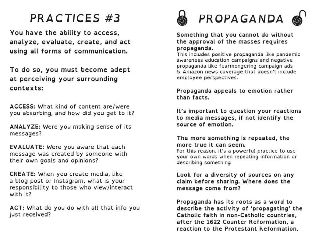 A screencapture of the interior practices & explanation of propaganda from the booklet PDF