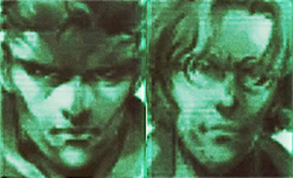 Close-up green-tone head shots of Snake Pliskin side by side with Otacon from Metal Gear Solid